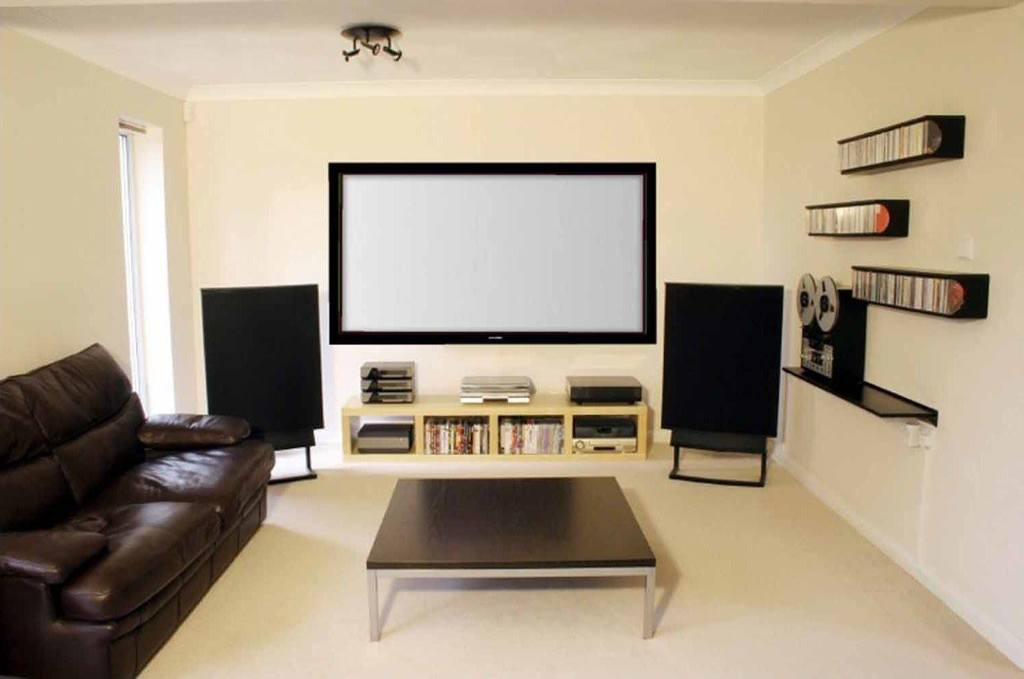 Home Theater screen and speakers